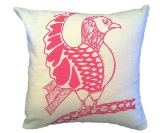 Perching Bird Cushion/Pillow.  Original Design. Screen printed in the UK.  The perfect gift for any occasion
