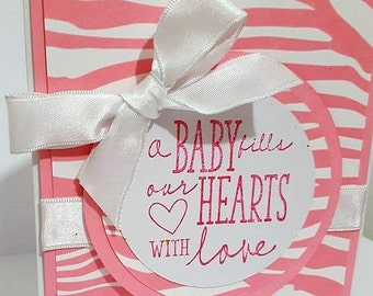 Pretty in Pink Baby Card, Baby Shower Card, Girl Baby Card, Zebra Baby Card