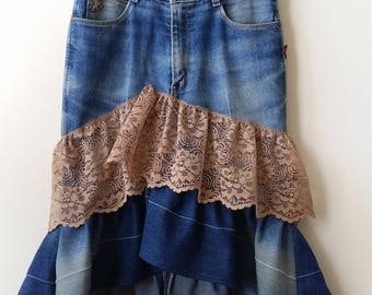 "Women's Reconstructed Asymmetrical DENIM SKIRT with RUFFLES, Size 30"" Waist"