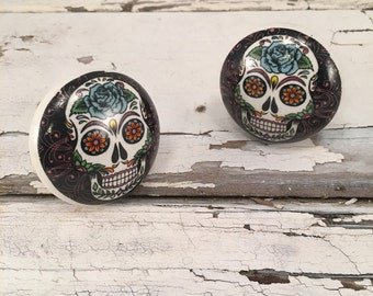 Day of the Dead Hand Painted Ceramic Knob, Furniture Upgrade Cabinet Knobs Skull Painting On Pull, Item #489735375