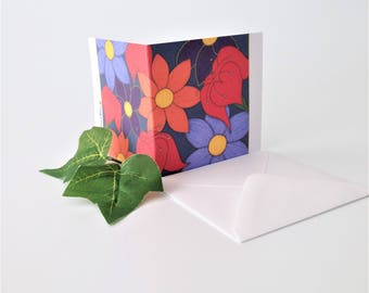 Thank You Notecard For Flower Lover - Flower Art Notecard - Blank Inside For Your Special Message - Handmade Art Notelet To Say Thanks.