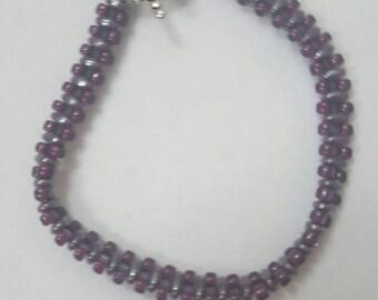 Slate gray and berry beaded bracelet