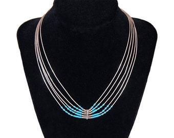 Vintage Zuni Sterling Silver Turquoise Bead Necklace, Signed Sensa Eustace Necklace