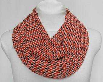 Orange and Navy Scarf /  Boho Festival Scarf / Print Scarves / Women Scarf / Circle Scarf / Gift For Her / Coworker Gifts / Infinity Scarves