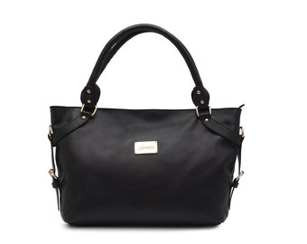 Stylish Italian Full Grain Leather Black Ladies Shoulder Handbag FREE EXPRESS DELIVERY