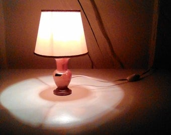 Lamp bedside Alabaster years 60 silk.vintage item.