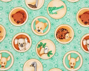 Outback Green Animals in Circles by Shelly Comiskey for Henry Glass Fabrics by the Half Yard