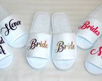 Bridesmaid slippers Bride terry shoes slippers personalized Maid of Honor Spa Slippers Wedding Custom slippers Glitter