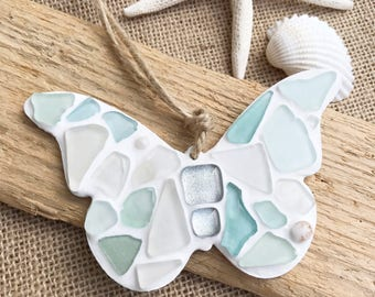 Icy blue sea glass 'butterfly' hanger handmade in Cornwall