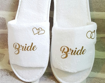 Bridesmaid Slippers, Personalised Wedding Slippers, Bridal Party Slippers, Bride Slippers, Wedding Slippers, Hen Party, Spa Slippers