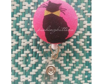 Cat with gold ribbon badgeholder