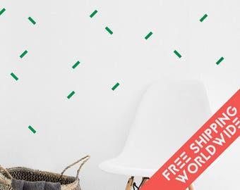 Confettis Green Wall Decals Decor Stickers Straight Line Rectangle Modern & Scandinavian - Sets of 25