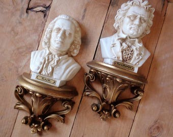Beethoven and Bach Wall Sconce Set Plaque Burwood Vintage Home Decor