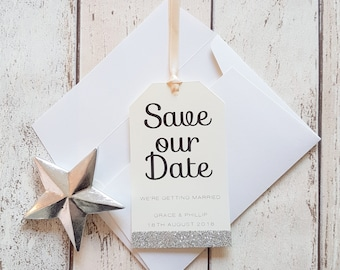 Cream & Silver Glitter Tag Save the Date. Wedding Luggage Tag. Handmade with Silver Glitter detail. Metallic Theme. Sample.
