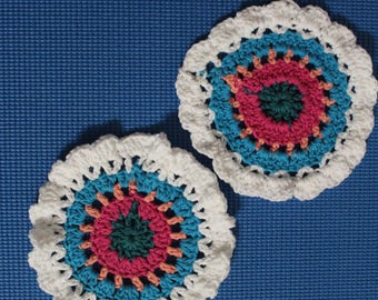 Crochet flower coaster - Set of 2