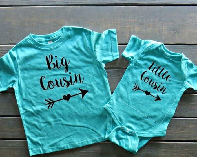 Big Cousin Little Cousin Shirt Set, Cousin Shirts, New Baby Shirt, Cute Baby Clothing, Baby Shower Gift