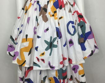Vtg 80s Guy Laroche Paris cotton abstract avant garde tiered ruffle skirt small