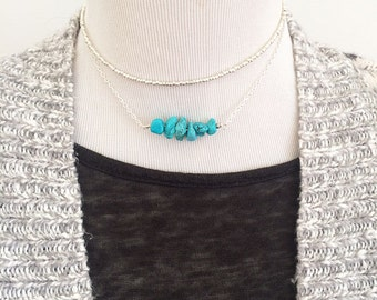 Sale! Dainty silver choker, layer necklace set, gift for her, layered necklaces, dainty turquoise necklace, dainty silver choker