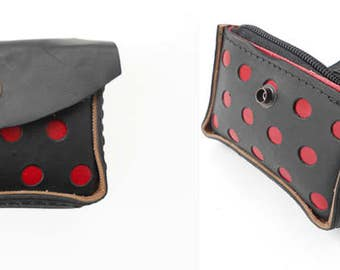 Lolaila red wallet. Wallet, business card holder and wallet. Leather and rubber
