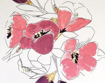 """Original art, painting, wall art, gouache, ink, """"Bouquet"""""""