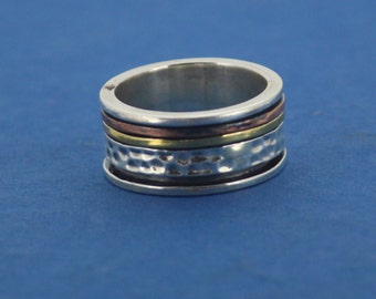 925 Sterling Silver  With Copper And Brass Spinner Ring