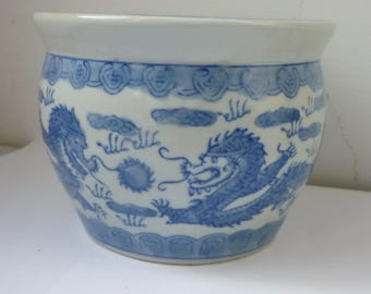 Chinese Blue And White Dragons Porcelain Planter c 19th century