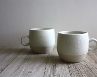 Frost Snowflake white tea mugs - handmade coffee mug handles