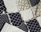 Custom Order for Leslie - Navy & Gray Baby Quilt with Stars and Polka Dots