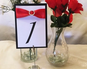 Red, Black & White Table Numbers (Choose Your Quantity)