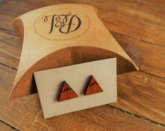 Mountain Earrings// Laser Cut Wood //Mountain Jewellery