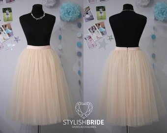 Light Peach Blush Tutu Skirt Casual 70 cm Lux/ Women's, Tulle Skirt Bridal, Princess Women Tulle Skirt,Tulle Skirt,Wedding Blush Tulle Skirt