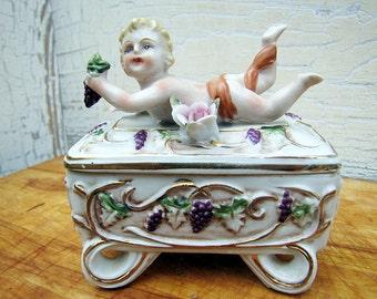 Vintage Cherub Trinket Box, Porcelain