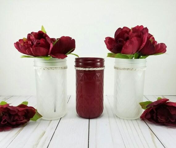Items similar to mason jar set fall wedding frosted
