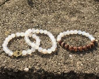 Hamsa Protection Stack, Moonstone Stack, Calmness, Intuition, Stress, Chakra Healing, Healing gemstones, Gemstone Bracelet, Jewelry Set
