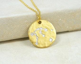 Gold Zodiac Necklace Zodiac Constellation Necklace Gold Astrology Necklace Sagittarius Capricorn Aquarius Pisces Taurus Gemini Virgo  NB1-26