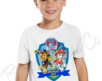 Customized Paw Patrol Shirt Add Name & Paw Patrol Pups Custom Birthday Party Tee 11
