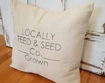 Locally Grown -Farmhouse Pillow Cover- Farmers Market Pillow - Vintage Pillow Cover - Farmers Market - Farmhouse Decor - Grain Sack Pillow