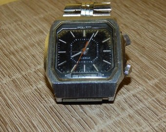 Vintage russian USSR mens black watch Poljot Signal Alarm 18 jewels Poliot  square Soviet watch. Fully working watch! Gift for him