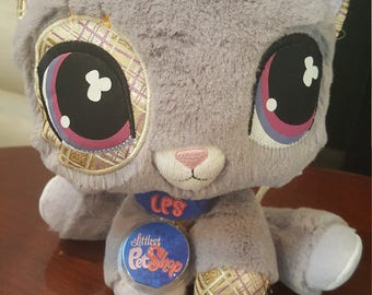 Littlest Pet Shop Gray Kitty Plush ! LPS Grey Cat / Kitten Stuffed Animal . Pre-Owned