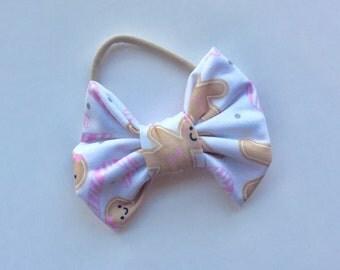 Fabric Bow // Gingerbread Bow // Baby Headband // Baby Bow // Headband // Clip