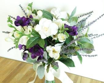 Bridal Bouquet, Artificial Bridal Bouquet, Artificial Wedding Flowers, Wedding Bouquet, Wedding Flowers, Keepsake bouquet, Purple flowers