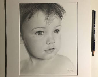 Custom Portrait, Hand-Drawn, Baby Portrait, Drawing, Memory Portrait, Graphite, 8x10, Made to Order, From Photo
