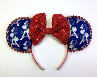 Blue, White and Red Eiffel Tower Mouse Ears