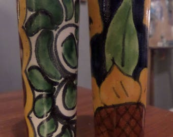 Set of 2 Hand Painted Festive Mexican Ceramic Shot Glasses