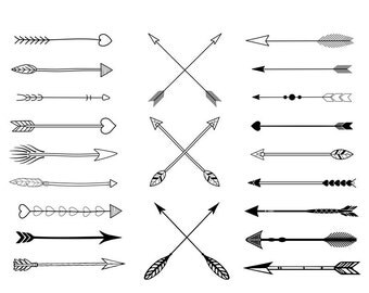 Freehand Tribal Arrows Clipart - Digital Graphic clip art  Arrows, great for scrapbooking or papercrafts, Personal or Commercial use