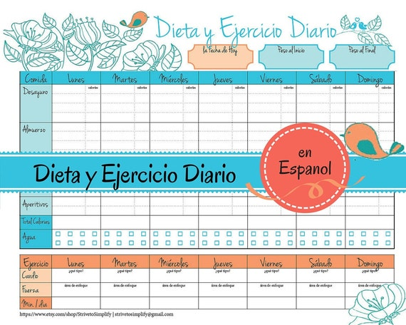 Weight Loss Journal en Espanol Food Diet Exercise Log in