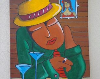 "Table ""The sleeper"" acrylic paintings"