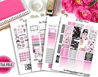 Audrey 2 // Pink // Happy Planner // Printable Planner Stickers