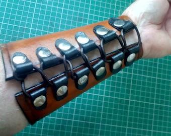 Leather Arm Brace Carved Design (Single)