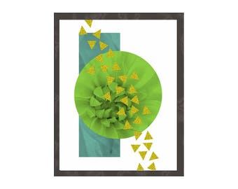 Geometric Art Print, Contemporary Modern Minimalist Contemporary Decor, Circles Triangles in Green Gold, Poster Wood Panel Canvas Teal Green